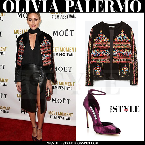 Olivia Palermo in black embroidered zara jacket, leather skirt and purple ankle strap brian atwood oriana sandals what she wore red carpet