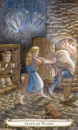 Hansel Gretel Seven of Swords 7 ไพ่เจ็ดดาบ ความหมายไพ่ยิปซี สัญลักษณ์ไพ่ fairy tale tarot lisa hunt ไพ่ทาโรต์ ไพ่ยิปซี