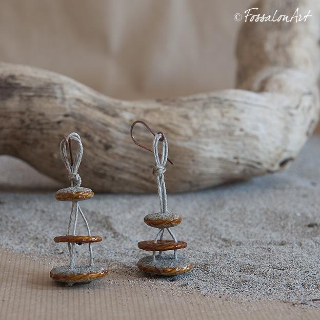 Orecchini in corda e sabbia