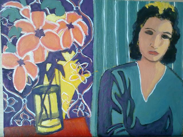 cuadro de mujer con flores