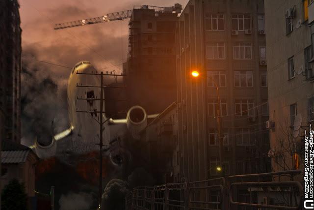 Падение самолета на город
