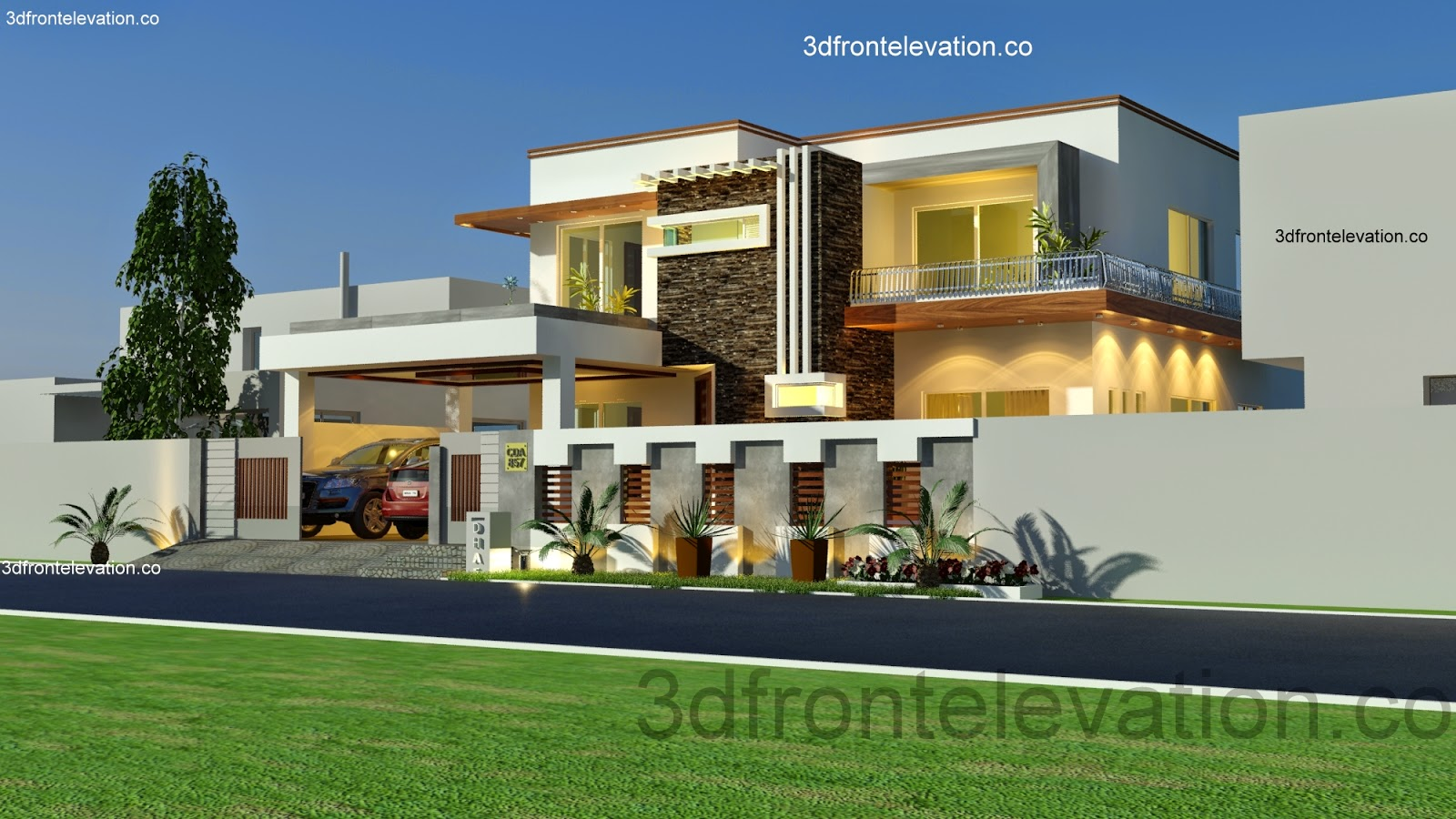 Kanal House Plan layout 50' X 90' 3D Front Elevation CDA Islamabad ...