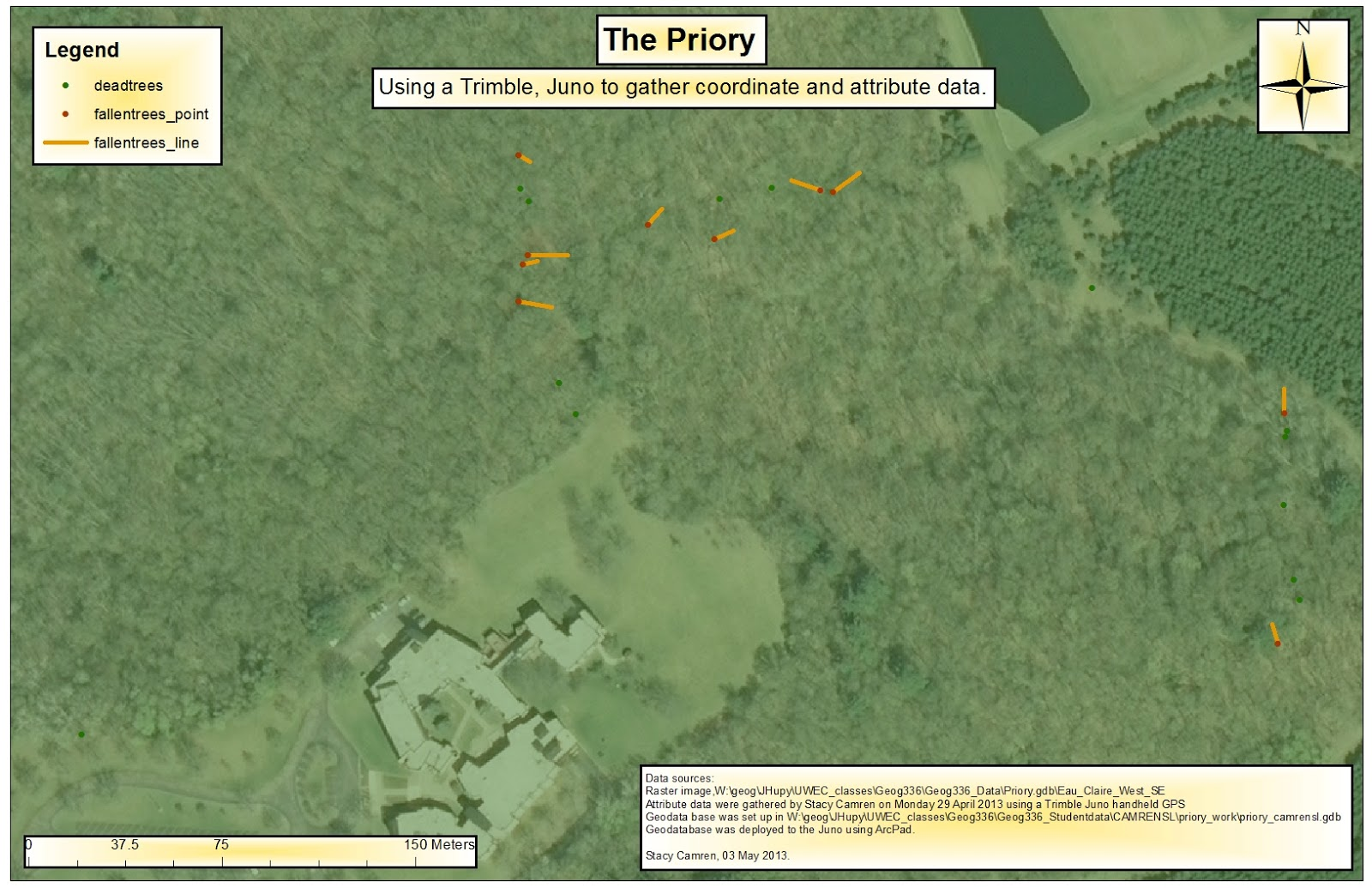 this map shows the location and present resting state of the fallen trees at the priory