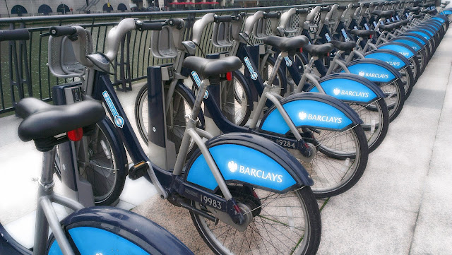 Image of a row of Barclays bikes in london.