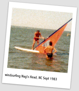 picture of Patrick on a wind surf board and Patti standing in water at Nag's Head, North Carolina 1983