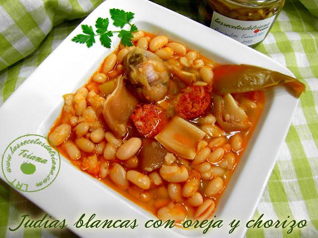 Las recetas de triana judias blancas con oreja y chorizo - Judias con chorizo y patatas ...