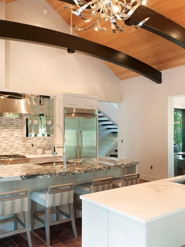 Picture of kitchen with marble bar and bar chairs