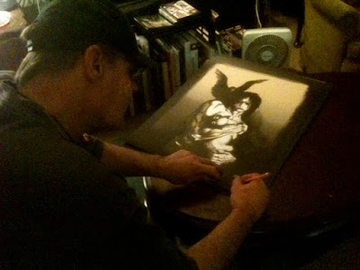 James O'Barr signing copies of The Crow screen print