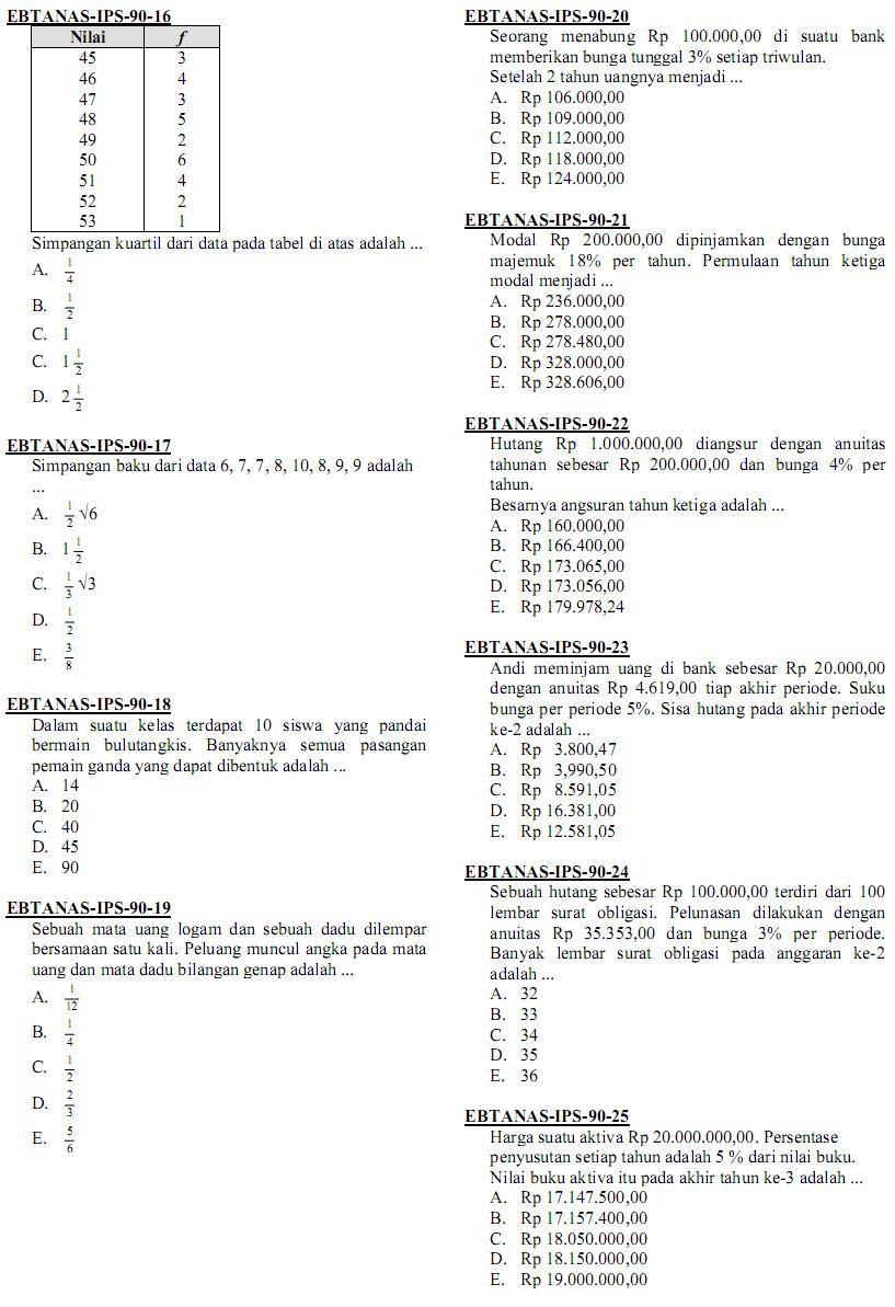 Matematika Di Sma Soal Ujian Nasional Matematika Ips Sma Ma 1990