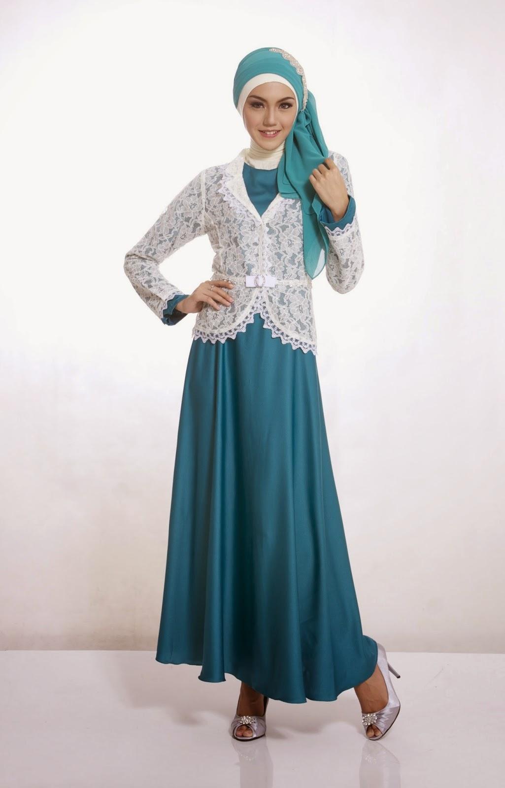 gaun pesta muslim biru terbaru
