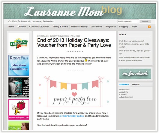 lausannemom.com holiday giveaways screenshot