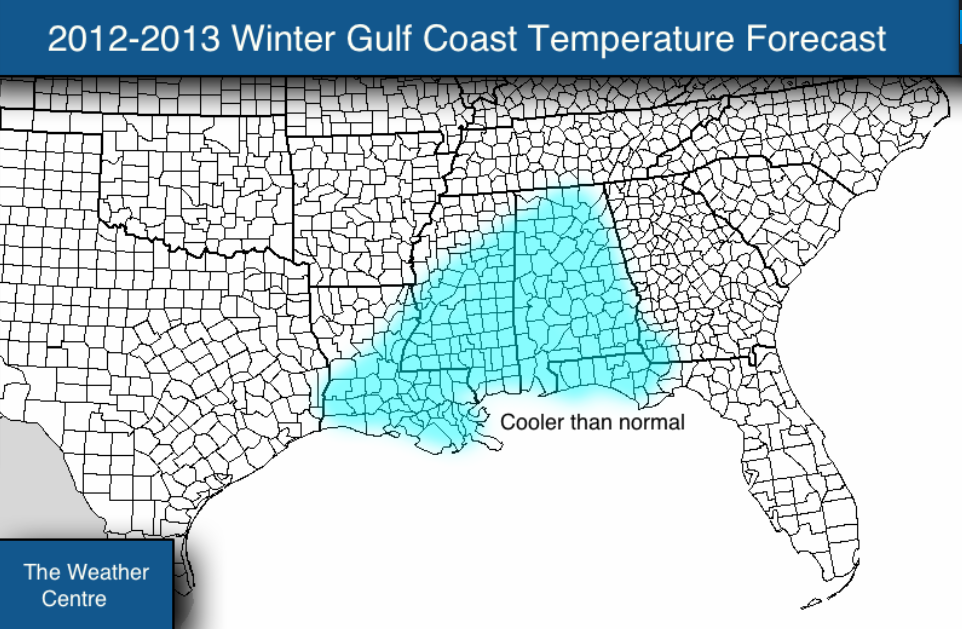 temperature forecast for the gulf coast this winter calls for a cooler
