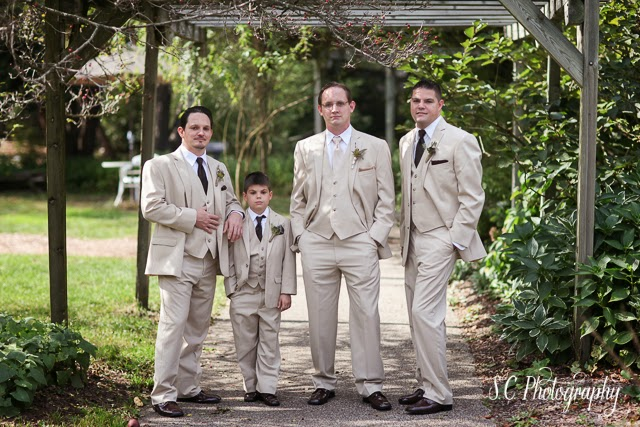 Groomsmen, khaki suits, fall wedding