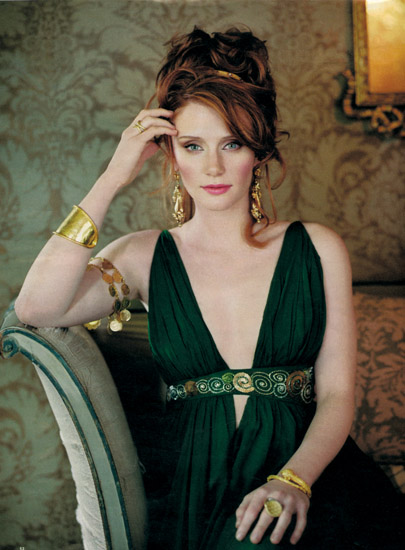 Bryce Looks Stunning As A Greek Goddess In Dark Emerald Dress With