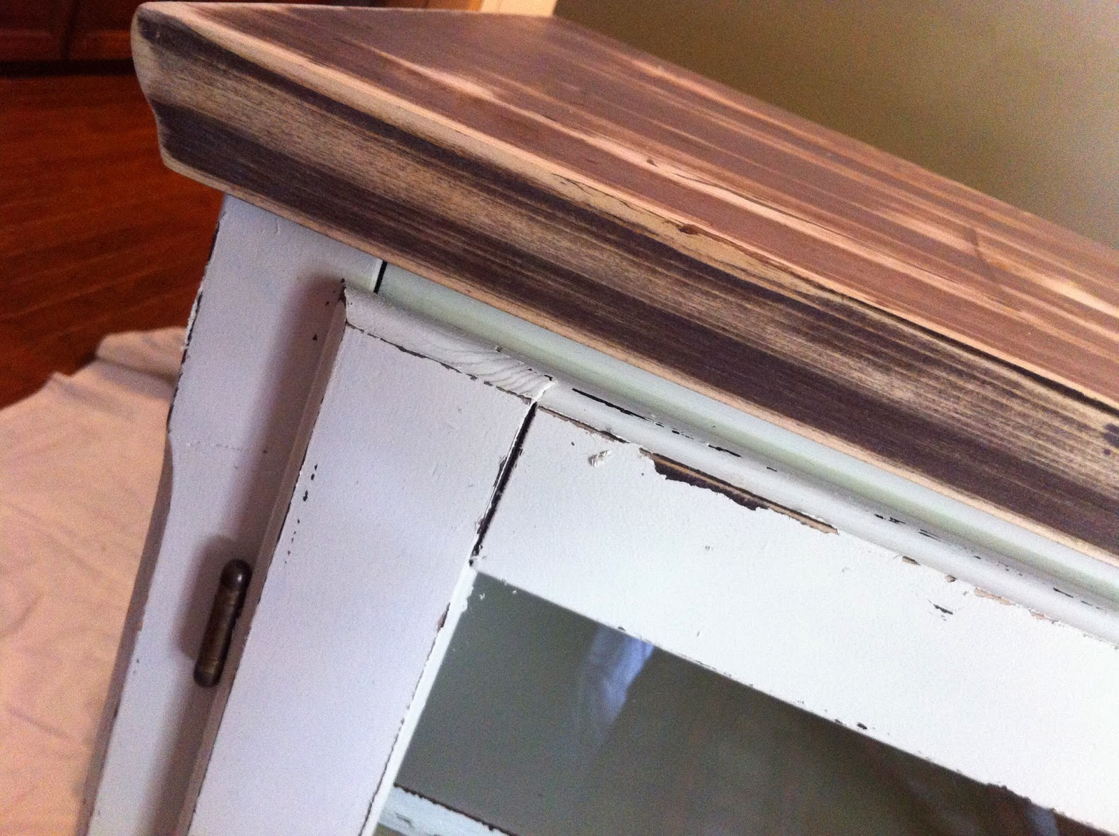 Distressed Media Cabinet - candlewax technique
