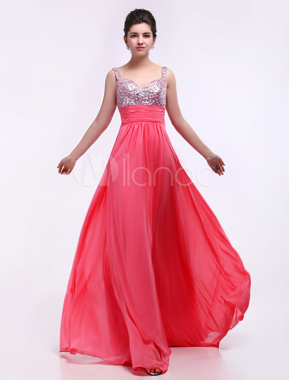 Candy Pink Sequined Chiffon Elastic Woven Satin Prom Dress