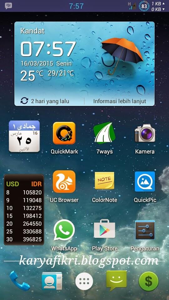 Tampilan homescreen android admin karyafikri.blogspot.com
