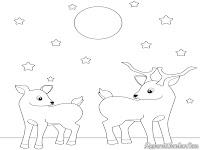Mewarnai gambar rusa untuk anak-anak