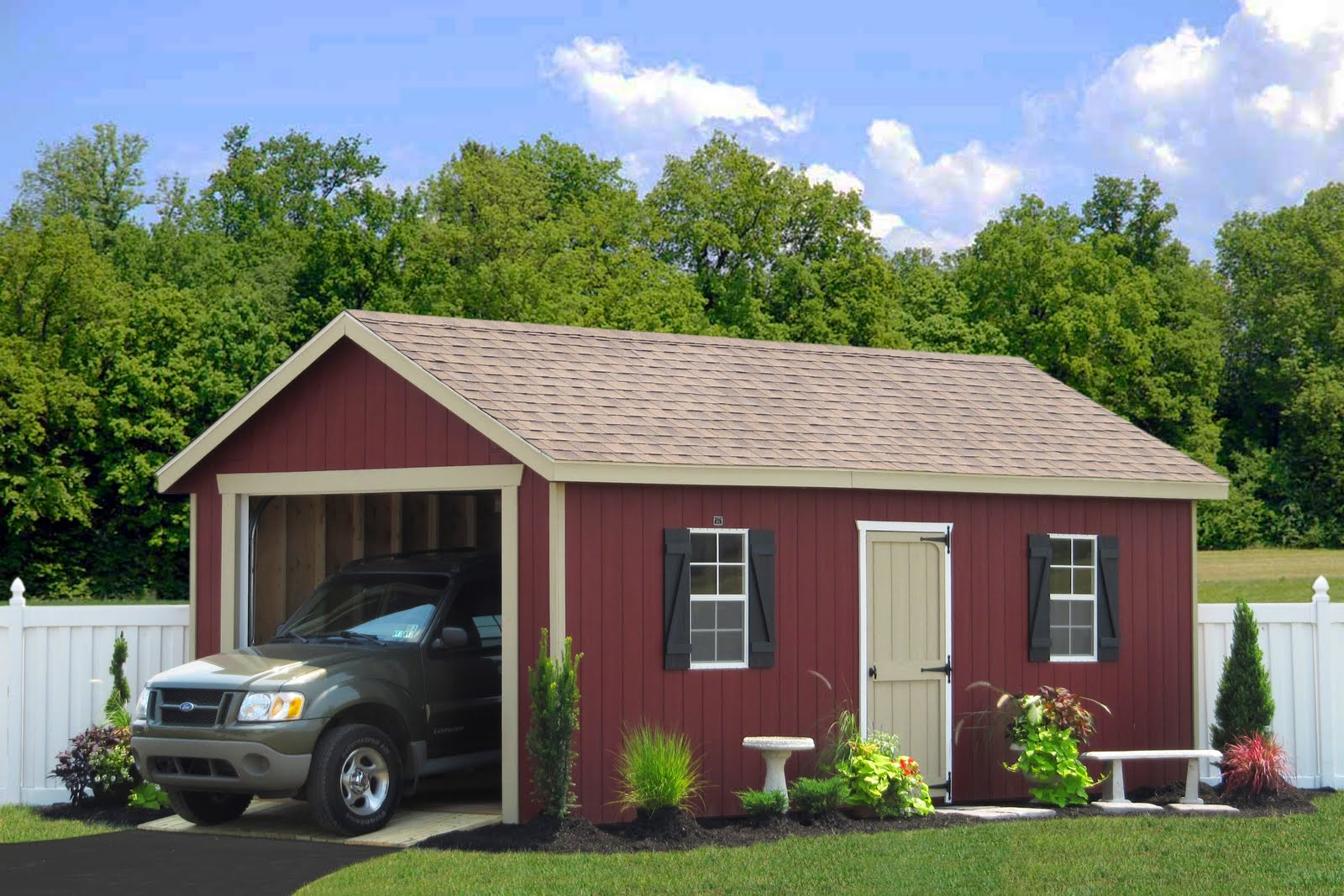Bels 8x8 wood shed new york for 5 car garage