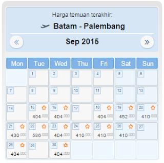 harga tiket pesawat Batam Palembang September 2015