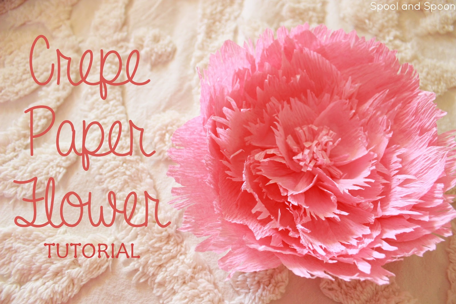 Spool and spoon paper flower gift topper tutorial crepe paper flower tutorial from spool and spoon perfect alternative to a bow mightylinksfo Gallery