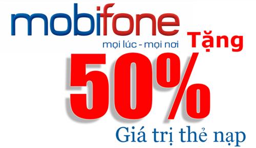 Khuyến mãi nạp thẻ Mobifone 50% ngày 30 và 31/12/2014