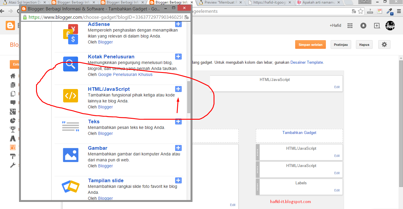 Menambahkan script html di blogspot