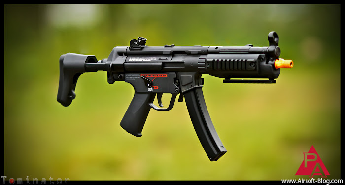 Airsoft MP5 SD5 SMG, Tokyo Marui MP5 SD5, Top Tech MP5 A5, G&G MP5 A5, Umarex H&K MP5 A5, Airsoft Electric Blowback Rifle, Pyramyd Airsoft Blog, Tom Harris Media, Tominator,