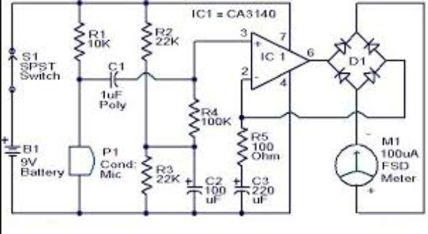 Sound Pressure Level Meter Circuit on condenser mic circuit diagram 4