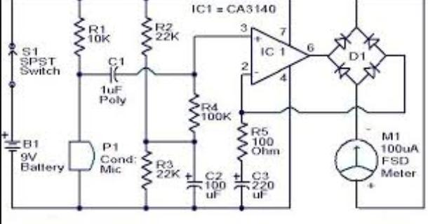 wiring schematic diagram  sound pressure level meter circuit using op