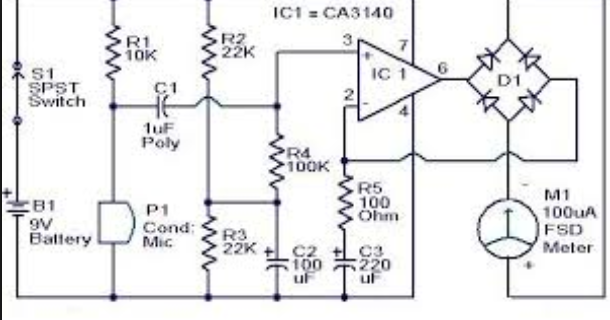 wiring schematic diagram  sound pressure level meter circuit using op