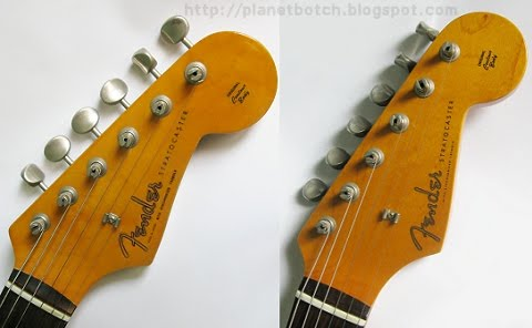 Fender JV series versus MIJ Stratocaster headstock comparison