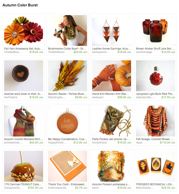 fall seasonal items for purchase on etsy with mustard, pumpkin, cranberry, and maize colors