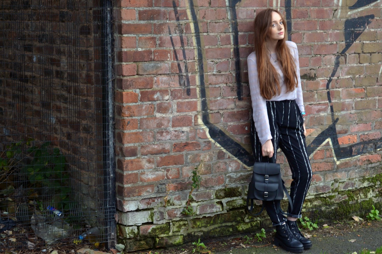 grey phase eight long sleeved top, striped choies black and white trousers, asos revolution ankle boots and grafea duffy black baby backpack