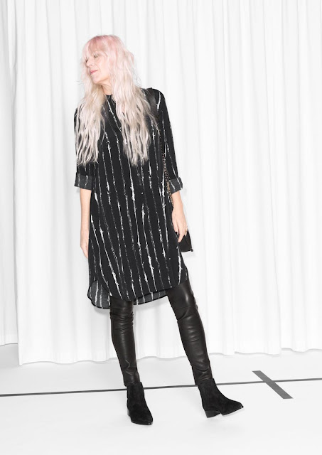 stories black silver stripe dress, black silver striped dress,