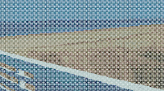 Quincy Bay in cross stitches (computer-generated)