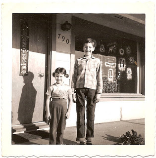childhood photo outside home before Christmas in Santa Rosa California 1960