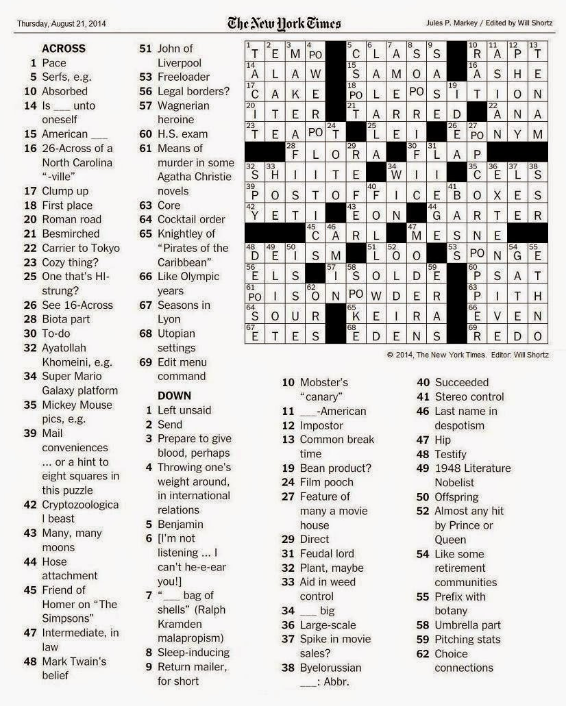 The New York Times Crossword in Gothic: August 2014
