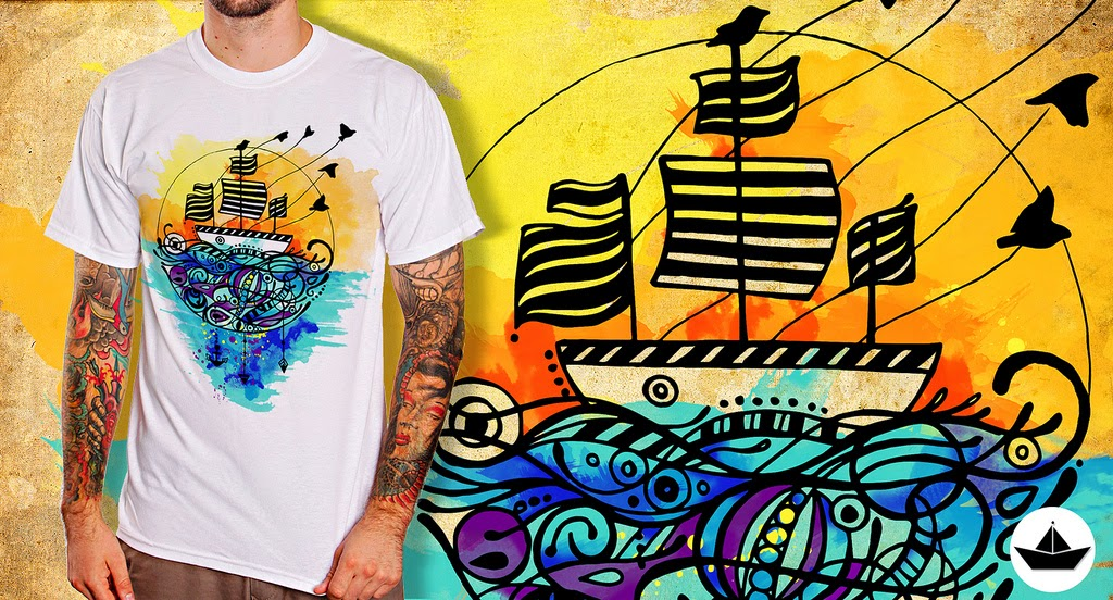 t-shirt boat illustration de duas uma