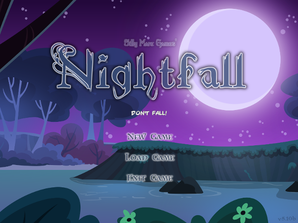 Nightfall's title screen.