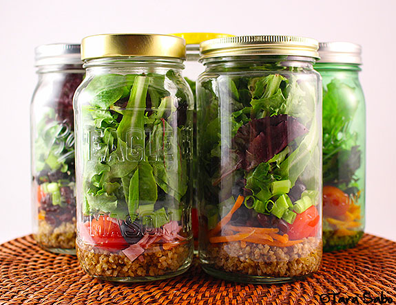 freekeh, mason jar, ball jar, salad recipe, whole grains