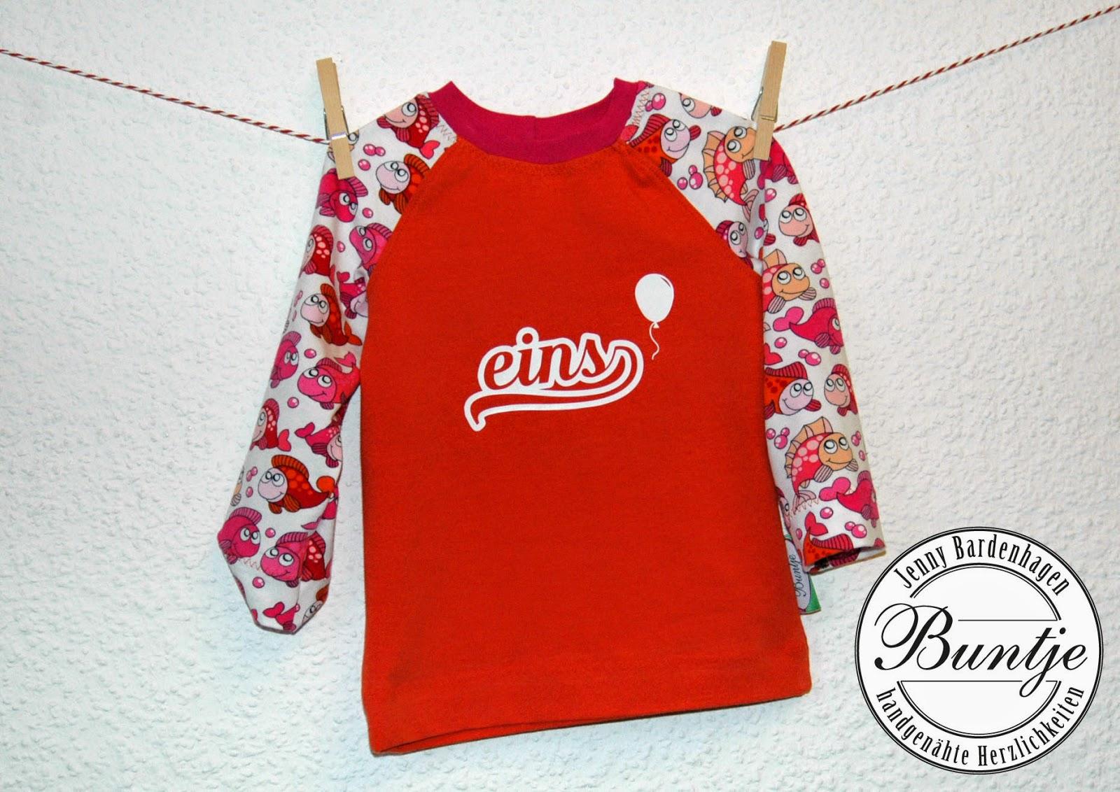 Geburtstagsshirt Shirt Geburtstag Zahl Alter Mädchen Miriam pink orange Fische Tiere handmade nähen Buntje