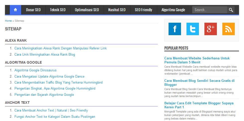 Cara Membuat Daftar Isi / Sitemap di Blog secara Manual
