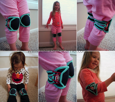 Trying on the Snazzy Baby Kneepads - Click here to view in our store