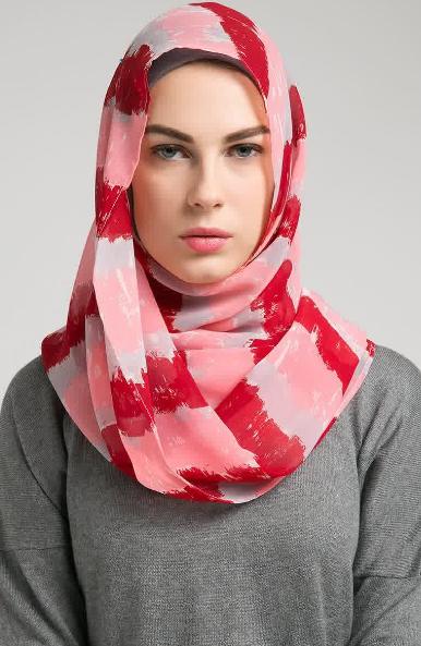 Hijab Segi Empat Modern untuk Wajah Bulat