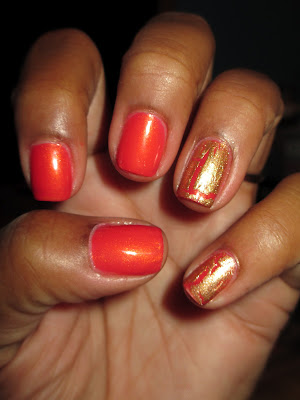 Avon Mosaic Effects Glimmering Gold, Coral, nail art, nail design, mani