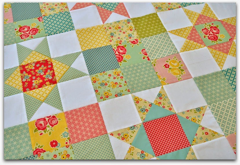 patchwork and stars baby quilt sidewalks riley blake