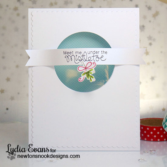 Mistletoe Christmas Card by Lydia Evans | Holiday Smooches Stamp set by Newton's Nook Designs #newtonsnook