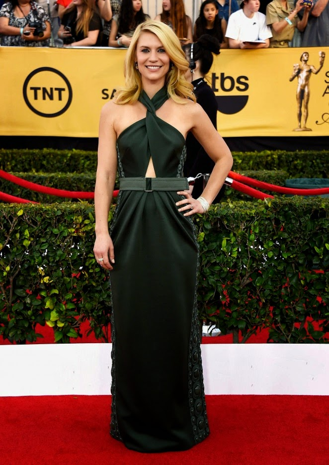 Claire Danes wears a Marc Jacobs halter dress at the 21st Annual SAG Awards in LA