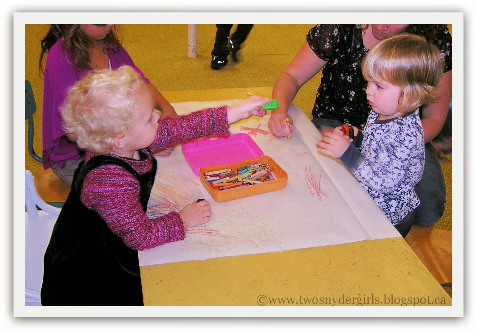 Sharing a crayon
